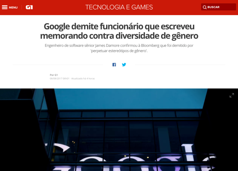 Google demite funcionario contra diversidade de genero