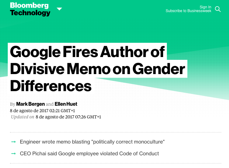 Google fires author of divisive memo on gendor differences